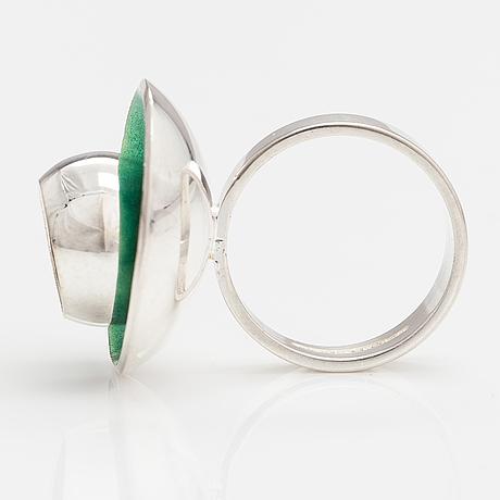 A silver and enamel ring. kultateollisuus, turku 1972.