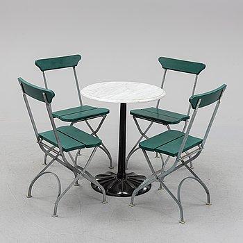 Four garden chairs and table, Byarums Bruk, Vaggeryd.