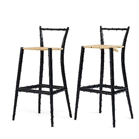 Piero fornasetti, a pair of bar stools, milano, italy, 1960-70's.