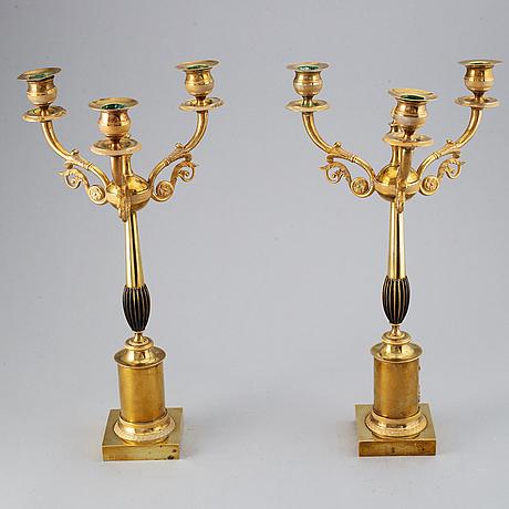 Kandelabrar, ett par, karl-johan, 1800-talets mitt.