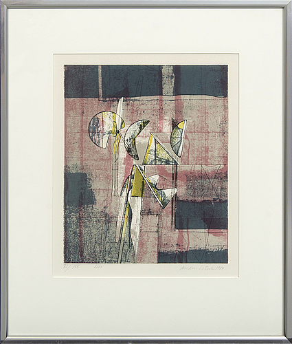 Anders österlin, färglitografier 2 st, signerade 75/165 samt 183/210.