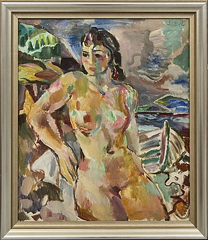 Jules Schyl oil on canvas signed 1945.