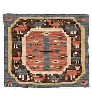 "197. Märta Måås-Fjetterström, a textile, ""Hönsen"", flat weave, ca ca 56-56,5 x 64,5-65,5 cm, signed MMF."