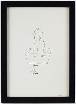 Lena Cronqvist, ink drawing, signed with dedication. Dated october 1994.