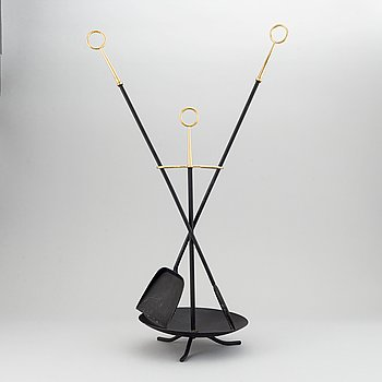 Gunnar Ander, a mid 20th century three pieces metal fire stand, Ystad Metall, Sweden.