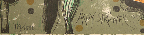 Ardy strüwer, ardy strüwer, color lithograph, signed 479/1500.
