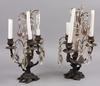 Bordslystrar, ett par, vitmetall, nyrokoko, delvis sent 1800-tal.