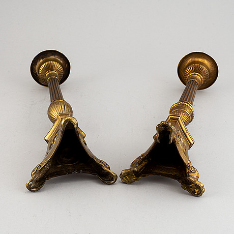 Two 19th century bronze altar candlesticks.
