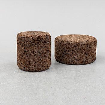"Jasper Morrisson, 1+1 small side table/stools, ""Mooi Corks"", designed in 2002."
