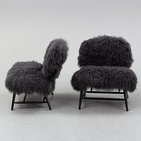 A pair of 'teve' easy chairs by alf svensson for ljungs industrier, 1950's.