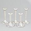 Five silver candlesticks, gab, stockholm, 1961-64.