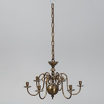 A brass six-light chandelier, first half of the 20th Century.