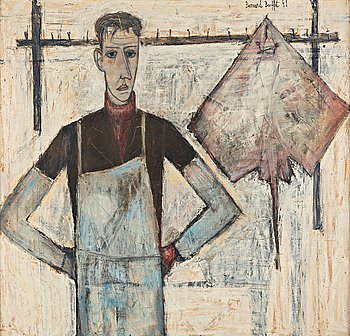 "638. Bernard Buffet, ""Le poissonnier""."