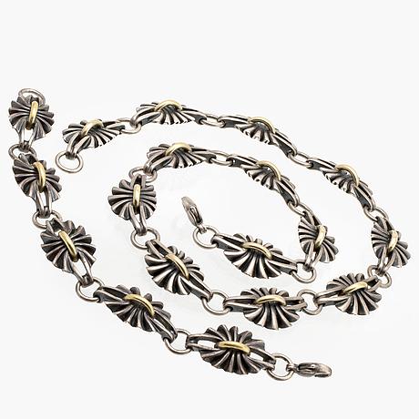Georg jensen necklace and bracelet, sterling silver and 18k gold, nr 394.