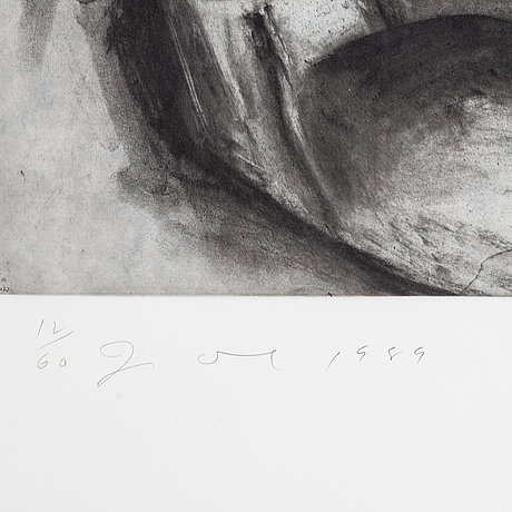 Jim dine, etching with aquatint, signed and numbered 12/60, dated 1989.