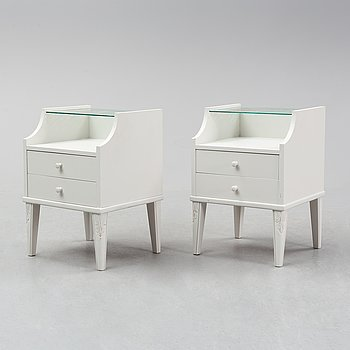 A pair of painted bedside tables, 1930's/40's.