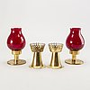 Hans-agne jakobsson, candle lanterns, 4 pcs, brass, markaryd.