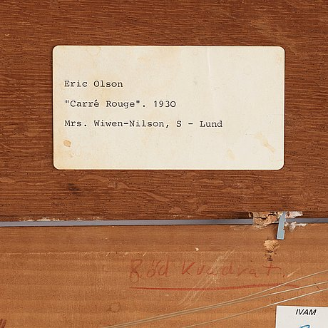 """Erik olson, """"carré rouge (röd kvadrat)""""."""