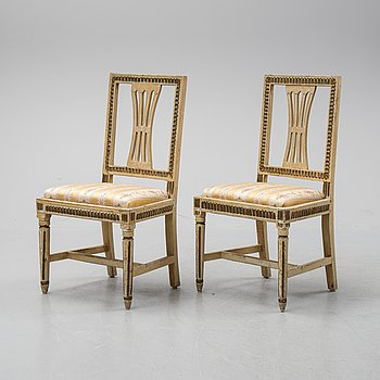 A pair of late gustavian chairs from Lindome, ca 1800.