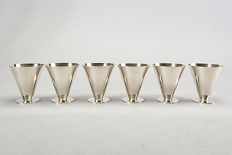 Wiwen nilsson, six silver cocktail cups, lund 1974.