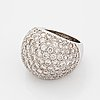 Brilliant-cut diamond bombé ring.