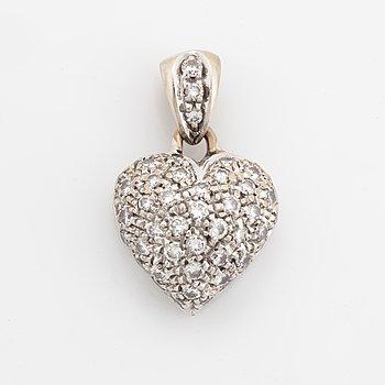 Heart shaped brilliant-cut diamond pendant.