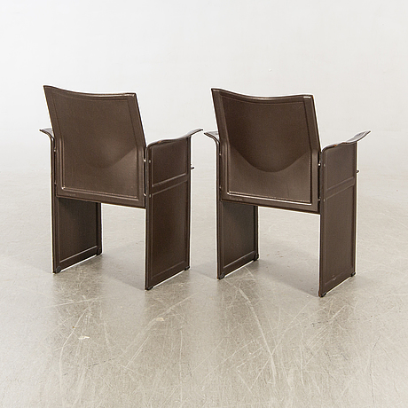 """Tito agnolo armchairs, a pair, """"korium"""", for matteo grassi, second half of the 20th century."""