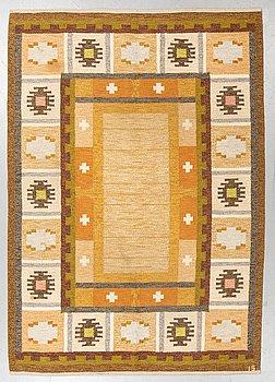 """Ingegerd Silow, a carpet, """"Båstad"""", flat weave, ca 233,5 x 160-164 cm, signed IS."""