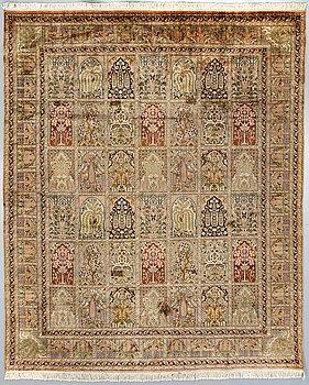 An old silk Kashmir carpet ca 244 x 303 cm.