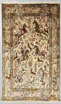 An old silk Ghom ca 205 x 129 cm.