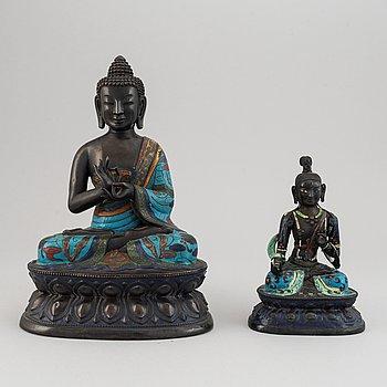 Two Chinese cloissone and bronze buddhas, 20th Century.