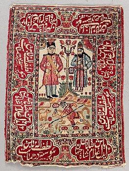 A rug, Antique Kerman Laver figural, ca 81 x 60 cm.