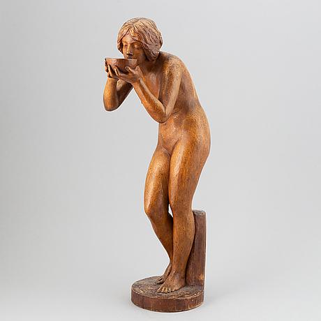 Victor heinrich seifert, skulptur. signerad. trä. höjd 65 cm.