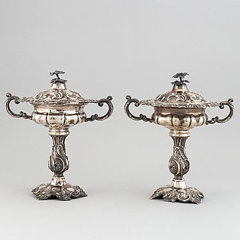 A pair of Swedish 19th century silver sugar-bowls, mark of Carl Nyström, Stockholm 1854.