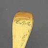 A swedish 18th century gilt-metal caster-spoon.