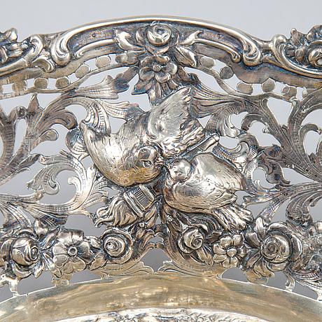 Skål och skrin, silver, rokokostil, tyskland, tidigt 1900-tal.