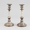 A pair of swedish 19th century silver candlesticks, mark of johan fredrik wolfram, stockholm 1839.