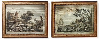 """262. Embroideries, 1 pair, """"Vue des Environs de Bayonne"""", signed and dated."""