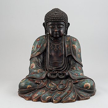 A large cloisonné and bronze buddha, presumably China, 20th Century.