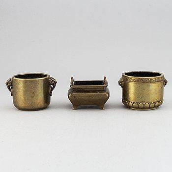 Three patinated bronze censers, China, 20th Century.