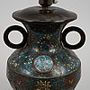 A ming style cloisonné vase, mounted as a lamp, china, circa 1900.