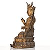 A gold lacquered bronze figure of bodhisattva, ming dynasty, mid 15th century.