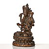 A cold gilt copper alloy figure of eight armed boddhisattva avalokiteshvara, late ming dynasty.