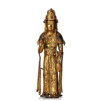 865. A standing cold pilt and lacquered bronze figure of Avalokiteshvara possibly Korea.
