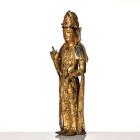 A standing cold pilt and lacquered bronze figure of avalokiteshvara possibly korea.