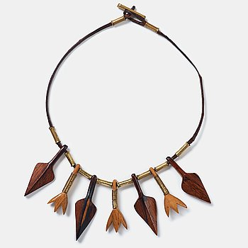 181. Vivianna Torun Bülow-Hübe, a leather necklace with brass and carved wooden details, Stockholm ca 1948.