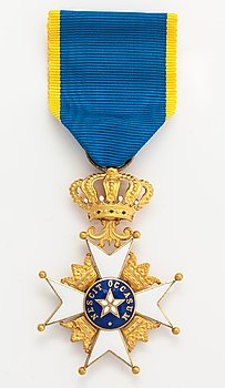 Order of the polar star, Knight 1st class. 18K gold, enamel. C.F. Carlman, Stockholm 1957.