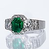 Ring 18k whitegold 1 emerald approx 2 ct and old-cut diamonds approx 1,5 ct, g dahlgren & co malmö 1968.