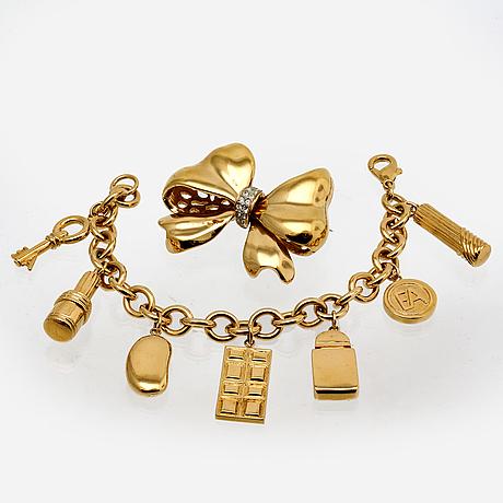 Jewelry, 2 pcs, bracelet elisabeth arden, brooch oscar dela renta.