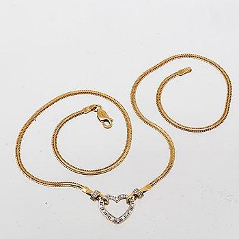 Necklace 18k gold with single-cut Diamonds, Balestra.